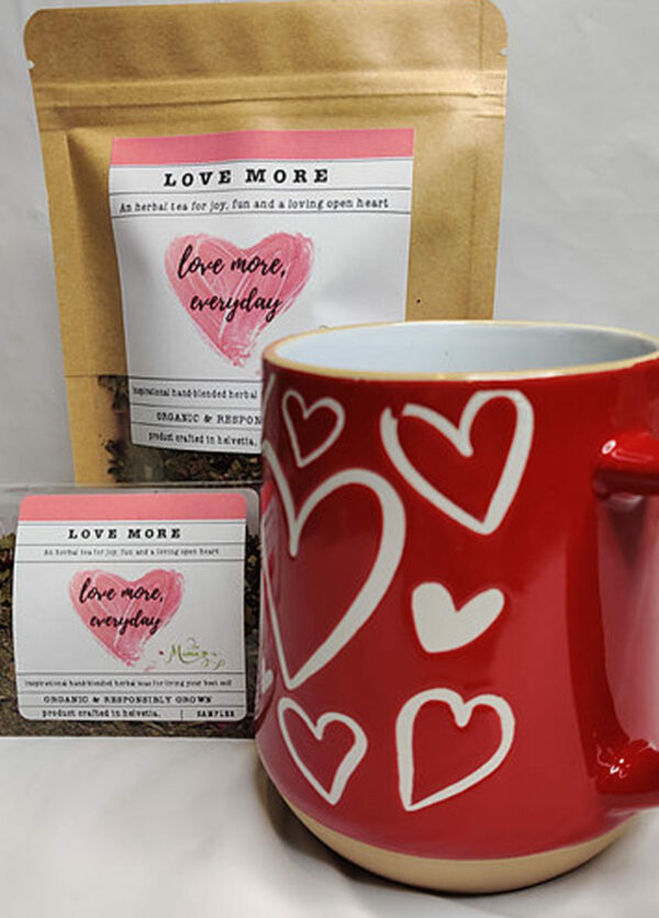 Love More packaged tea and red heart mug