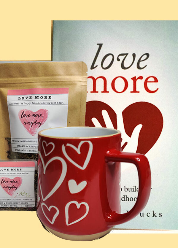 Buy More branded tea with heart mug and Love More book by Shannon Loucks